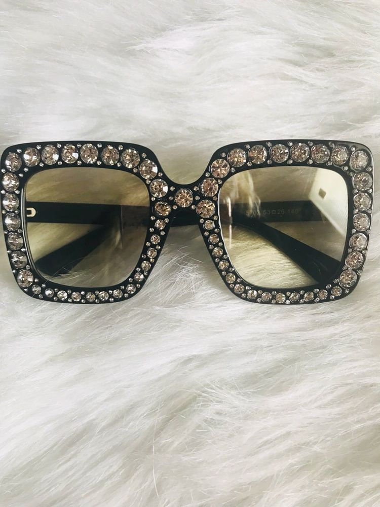 d3782cdf6d73 2018 NEW Oversized Square Frame Bling Rhinestone Sunglasses Women Fashion  Shades  fashion  clothing  shoes  accessories  womensaccessories ...
