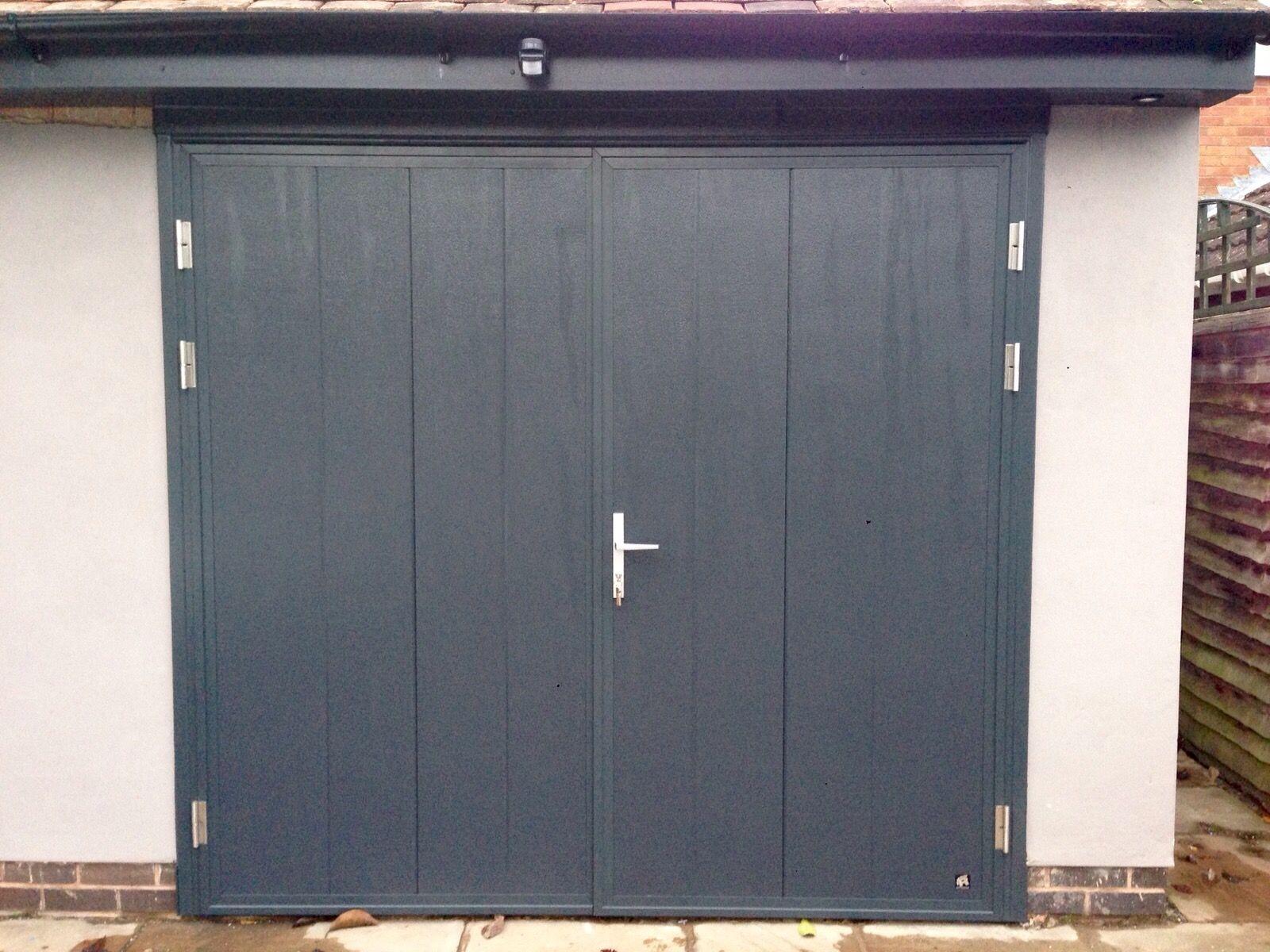 Ryterna Vertical Rib Woodgrain Side Hinge Door Anthracite Grey Ral 7016 Grey Garage Doors Side Hinged Garage Doors Garage Door Hinges