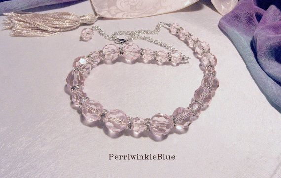 Baby Pink Beautiful Faceted Glass Crystal and by Perriwinkleblue