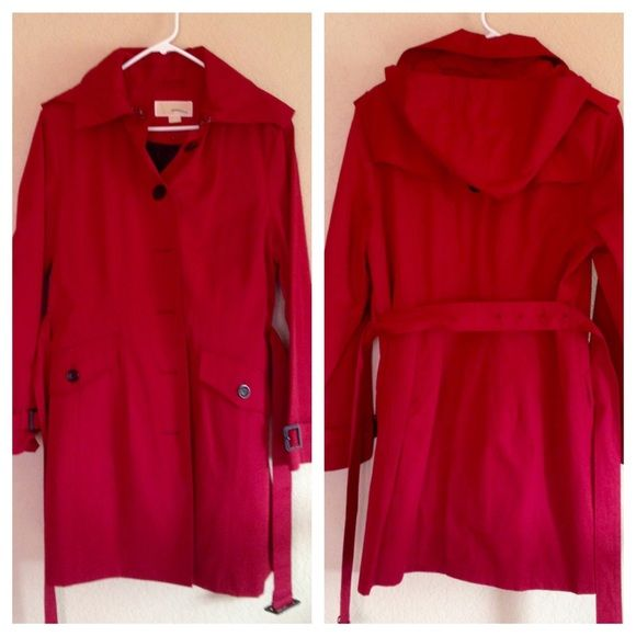 NWOT Michael Kors 3/4 trench coat In perfect condition and never worn. 3/4 length belted trench coat with flattering seaming and button detail. Removable warm lining, and removable hood. A great piece for winter AND spring! Michael Kors Jackets & Coats