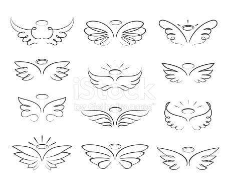 #angel  #background  #cartoon  #isolated  #sketch  #style  #vector  #white  #wings #sketch #angel  Vector sketch angel wings in cartoon style isolated on white background. Cartoon... ,