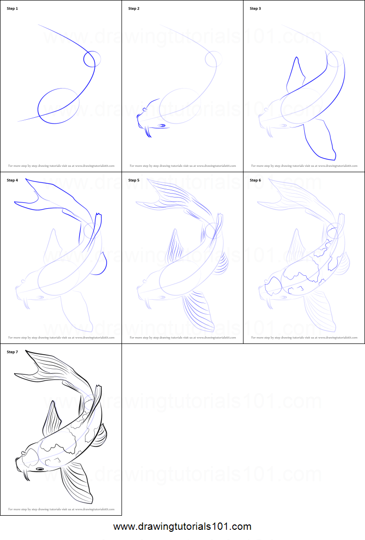 how to draw a koi fish printable drawing sheet by drawingtutorials101 com [ 751 x 1110 Pixel ]