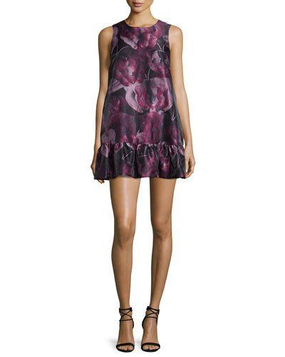 Painted Butterfly Sleeveless Mini Dress, Black/Raspberry