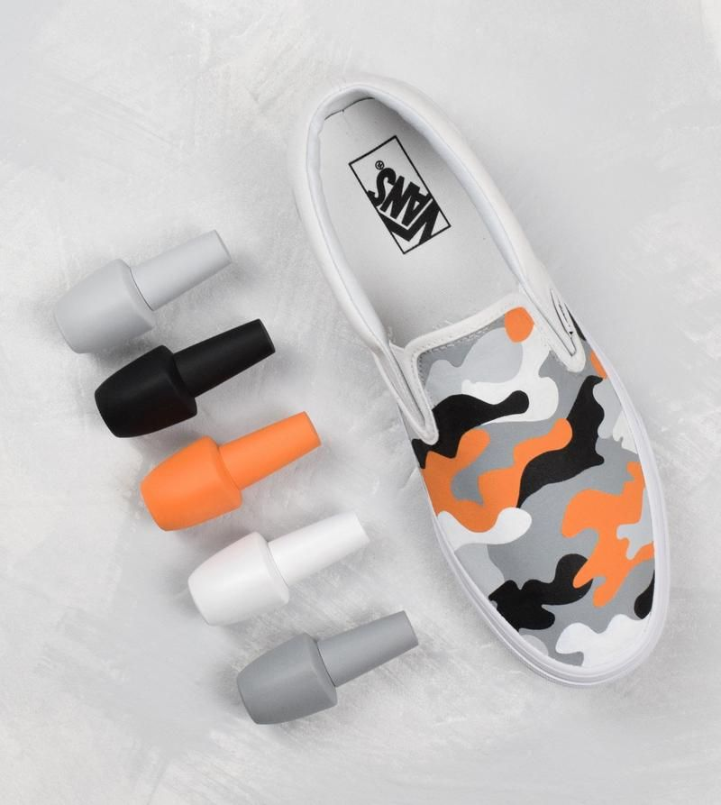 87484454b7f9 Introducing our hand painted camo slip on Vans custom sneaker. The all  white slip on