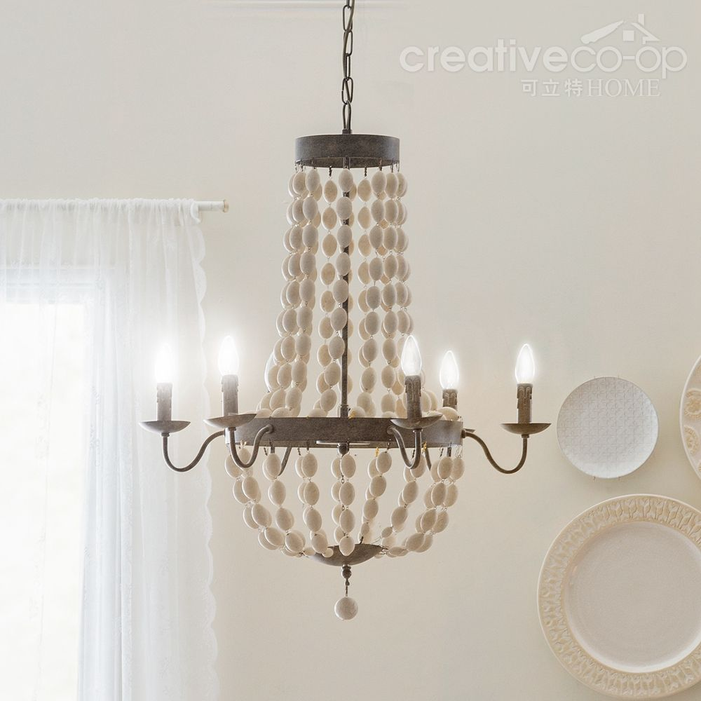 Distressed white wood beads chandelier creative co op home distressed white wood beads chandelier creative co op home aloadofball Images