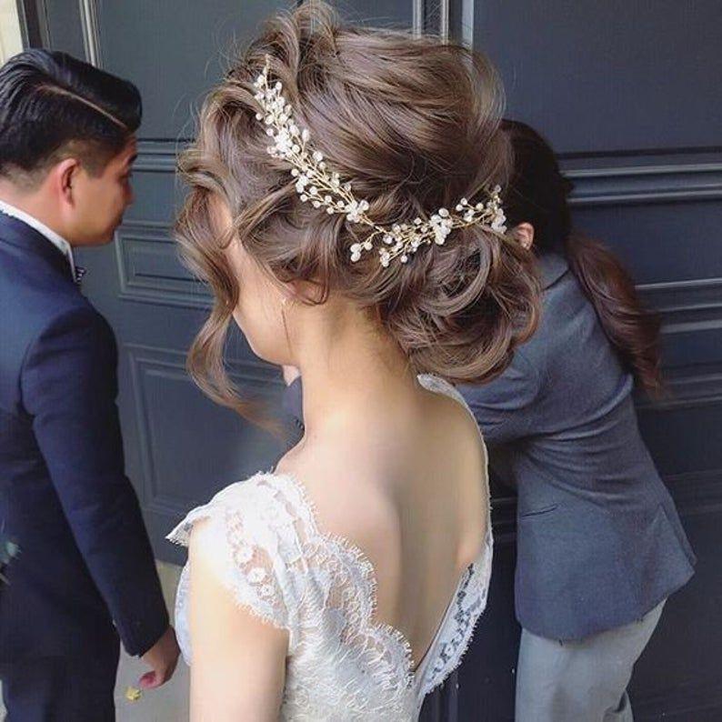 Bridal hair vine crystal and pearl hair vine hair vine