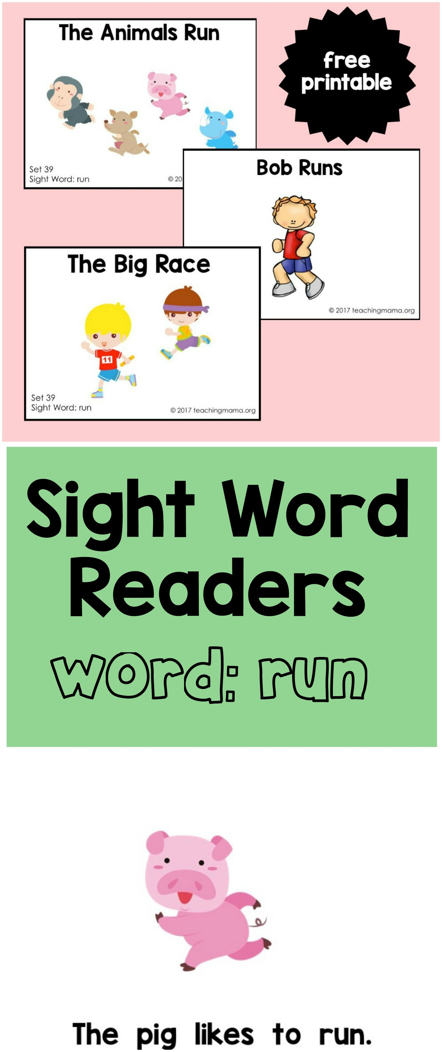 Sight Word Readers For The Word Run