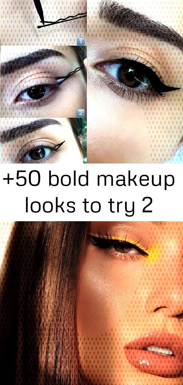 +50 bold makeup looks to try 2 +50 Bold Makeup Looks to Try Vivid Yellow Eyeliner Makeup Red and bl