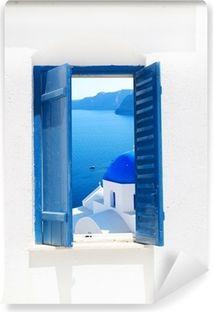 Photo of Old wooden door with bougainvillea in Cyprus Wall Mural • Pixers® – We live to change