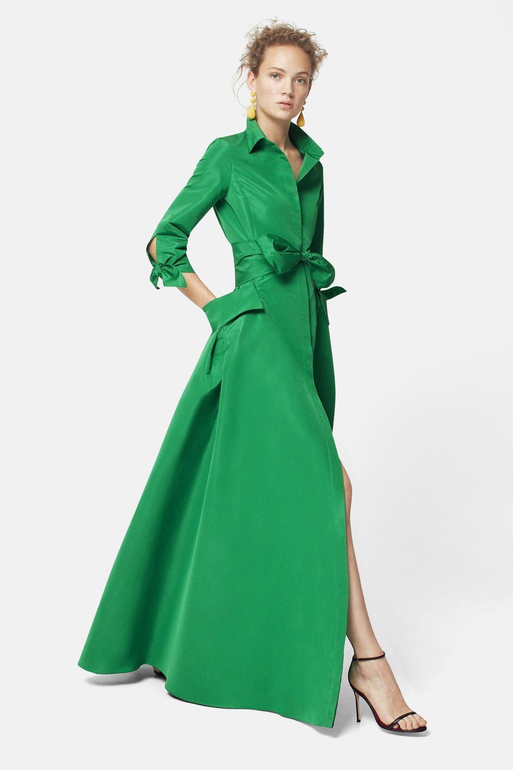 45668022c48f63 Vestido camisero de tafeta VERDE | Products en 2019 | Vestidos ...