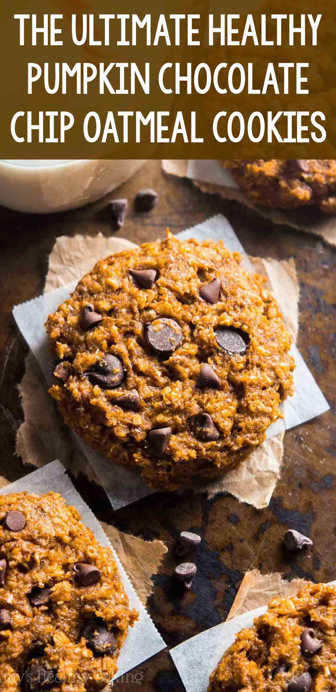 Clean eating chewy pumpkin pie chocolate chip oatmeal
