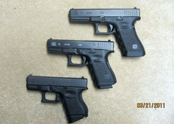 9mm - Glock 17, Glock 19, Glock 26 comparison (listed right to left