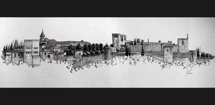 Antonio Ortega Penas Magina Dibujo Plumillas Portfolio Alhambra De Granada Arte Con Hilos Y Clavos Azulejos De Mosaico