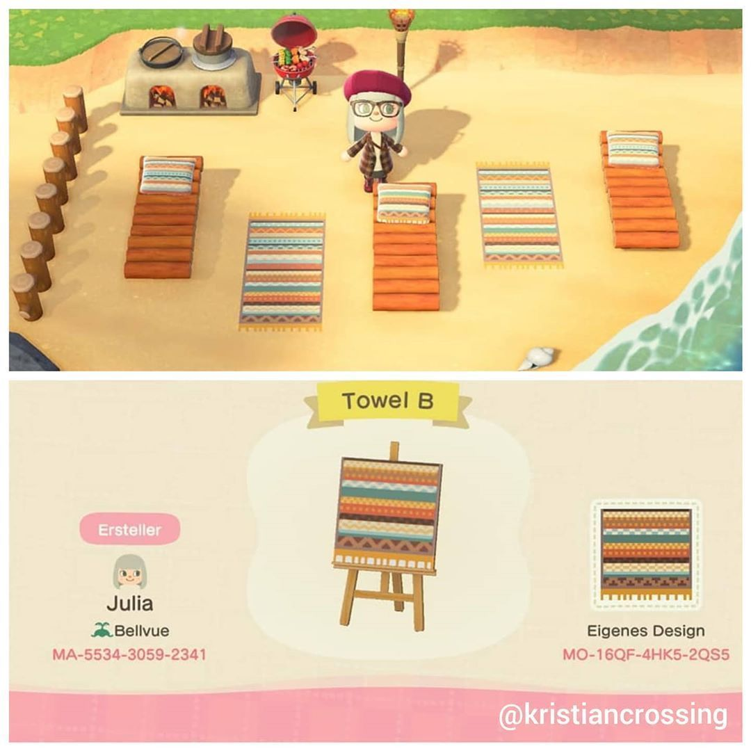 Kristian Kenneth Acnh Designs On Instagram Beach Towel Pattern I Post Codes Layouts And Paths Animal Crossing New Animal Crossing Animal Crossing Game