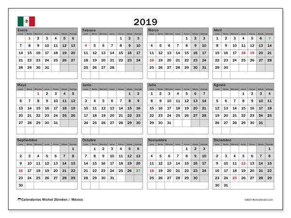 Calendario 2019 con Días Feriados de México
