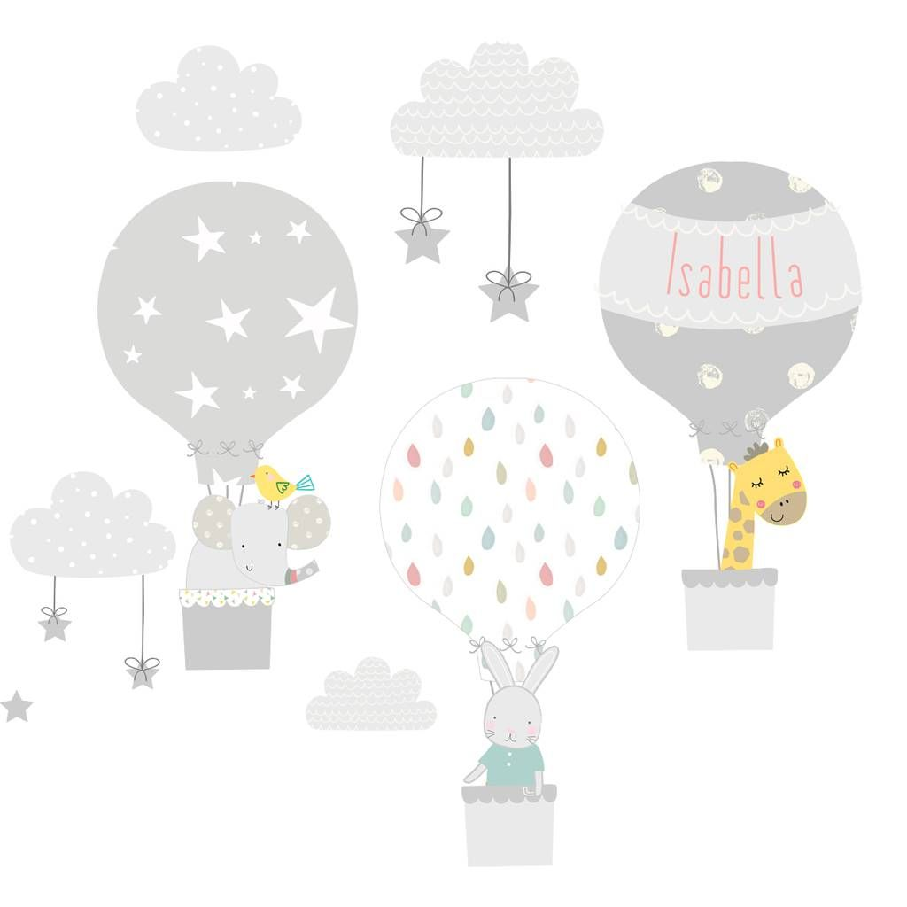 Grey Hot Air Balloon Fabric Wall Stickers Weather Pinterest
