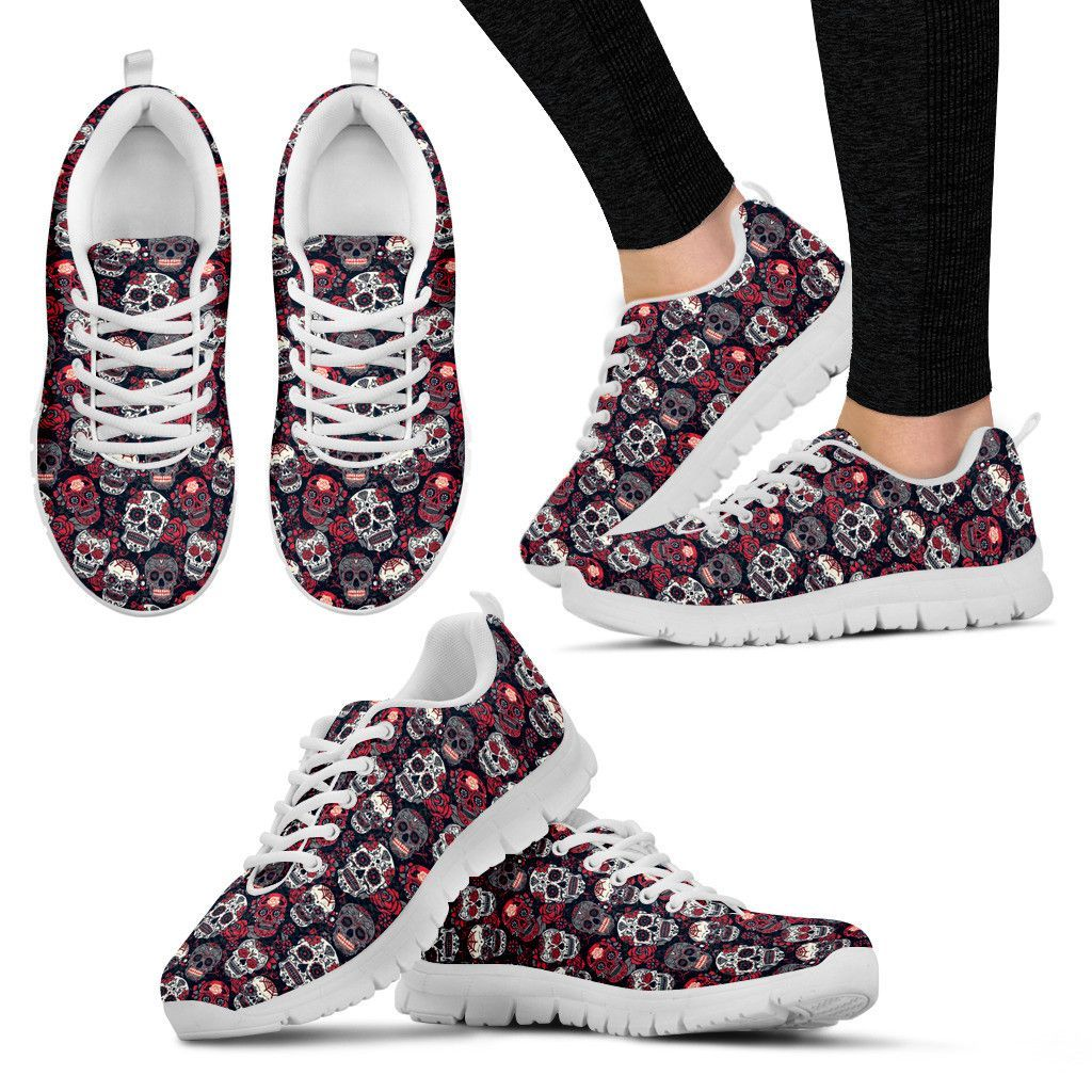 823b2e29db Red And White Sugar Skull Sneakers - Women s
