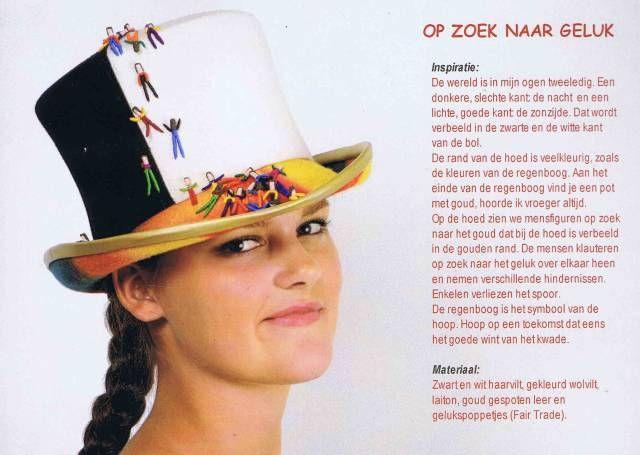 Deze hoed maakte Nienke voor de hoedenwedstrijd van de Nederlandse Hoeden Vereniging in 2013. Ze behaalde hiermee bijna de publieksprijs.