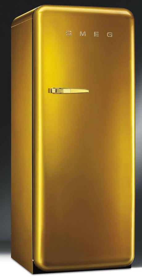 Smeg Retro Fridge In Gold With Swarovski Crystals Appliancist Retro Fridge Retro Refrigerator Smeg