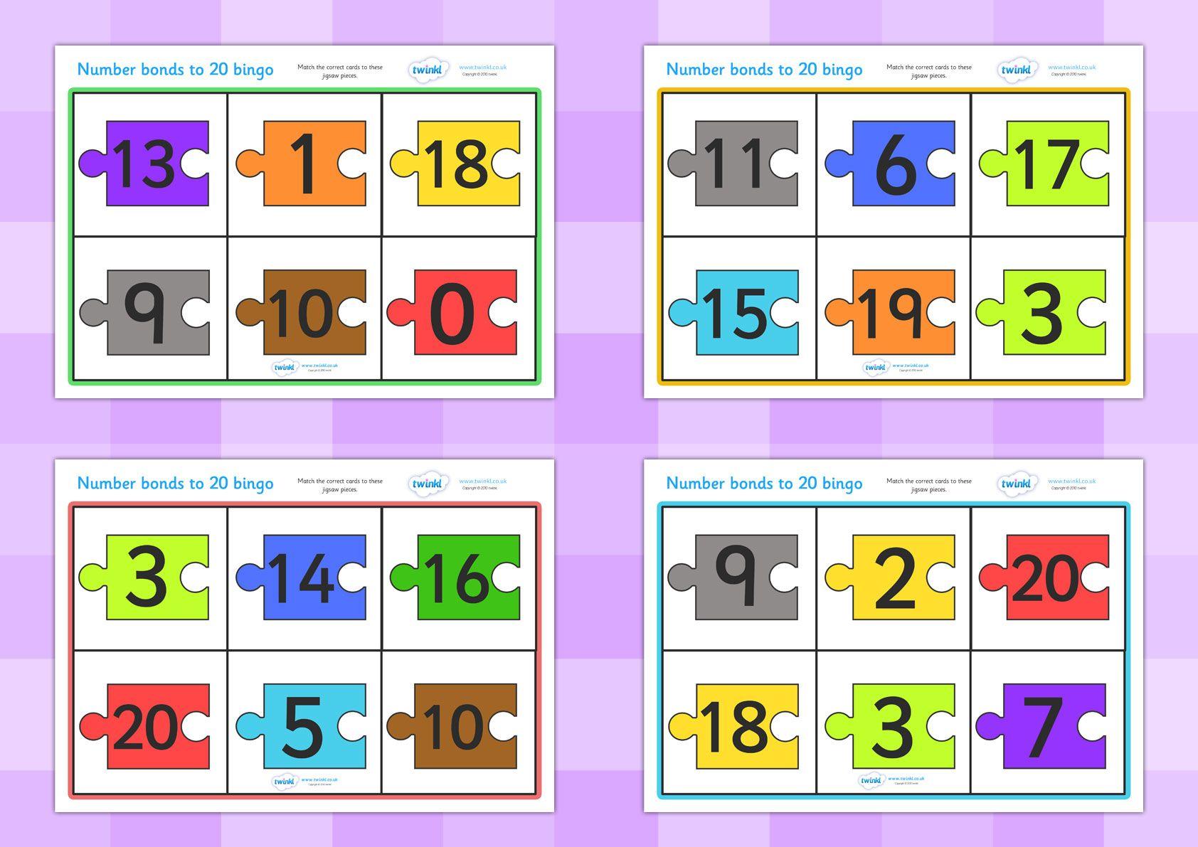 Twinkl Resources Number Bonds To 20 Bingo Jigsaw