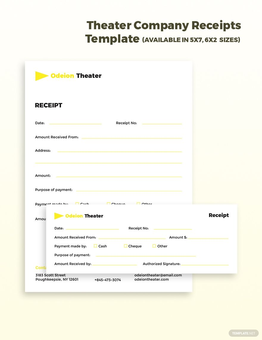 Theater Company Receipts Template Free Pdf Word Psd Indesign Apple Pages Illustrator Publisher Receipt Template Theatre Company Templates