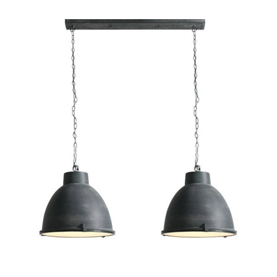 industrià le hanglamp brigida met dubbele kap kleur grijs