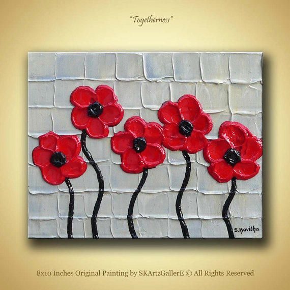 Red Flowers Painting Original Artwork From SKArtzGallerE Small Canvas