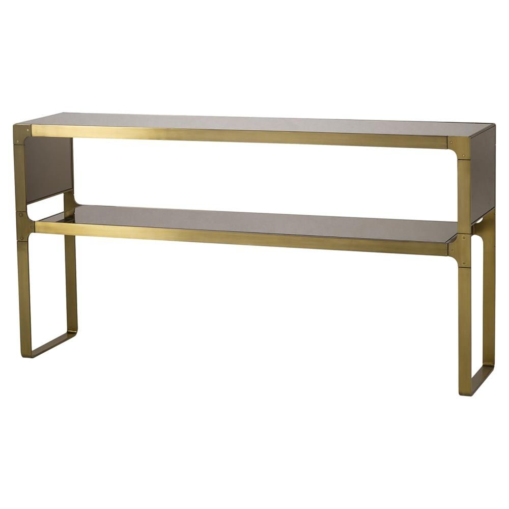 Ladana Regency Satin Brass Bronze Mirror Console Table