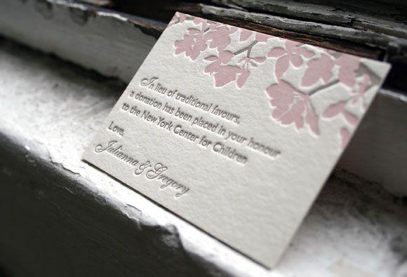 Donation Card Wedding Favors Inkedweddings