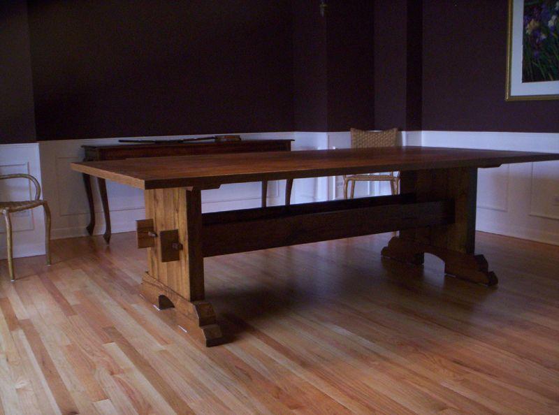 white oak trestle table by