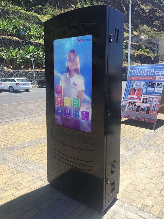 """NOMYU double-sided at Calheta Viva - Açores  PARTTEAM & OEMKIOSKS was selected by a partner to develop and produce an interactive public kiosk to help the Town Hall of Calheta Viva to stay in touch with locals and tourists.   We produce a double-sided outdoor NOMYU with 42"""" touch screens and ready for citizen with reduced mobility.  """"..The kiosk allows users to check out points of interest, upcoming events and latest news, as well as to take selfies to Facebook and send electronic postcard"""