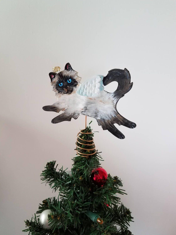 cat tree topper himalayan cat topper mini tree topper mini cat topper cat christmas decor cat - Mini Christmas Tree Topper