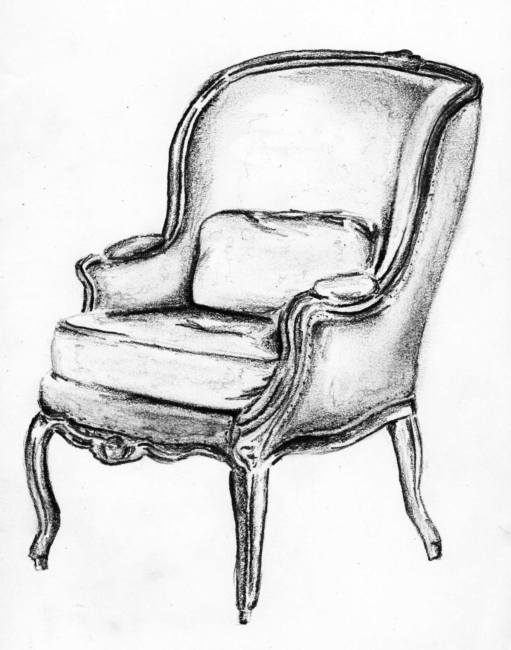 Black and white chair drawing - Bergere Sketch Andrea Andert Colour Drawingwing Chairsillustration