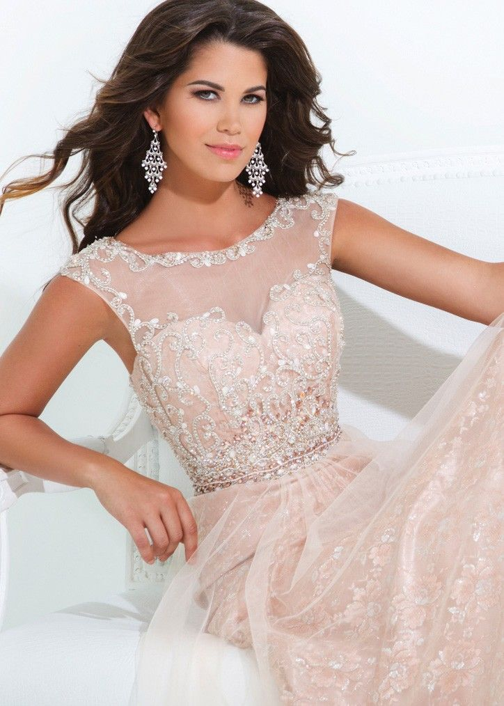48b1b5ac909 Tony Bowls Evenings TBE11415 Illusion Cap Sleeve Evening Gown ...