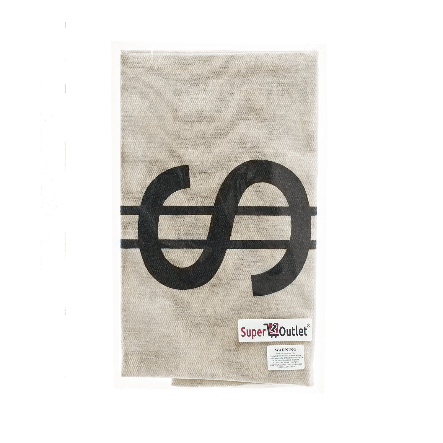 6944398ba03f Super Z Outlet Large Canvas Natural Money Bag Pouch with Drawstring Closure  and Dollar Sign Design for Toy Party Favors Bank Robber Cowboy Pirate Theme  ...