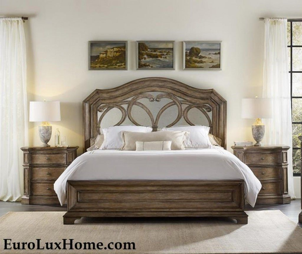 Bedroom Sets With Mirror Headboard solana mirrored bedhooker furniture: refined rustic with an