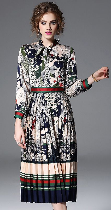 5706bb354d Folk Floral Long Sleeve Pleated Lacing Bowknot Skater Dress ...
