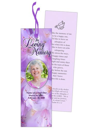 Memorial Bookmarks Lavender Bookmark Template With Preprinted Title