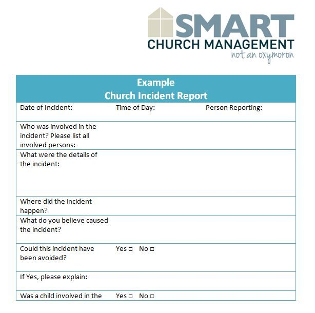 Church Incident Report Form  Church Ideas    Churches