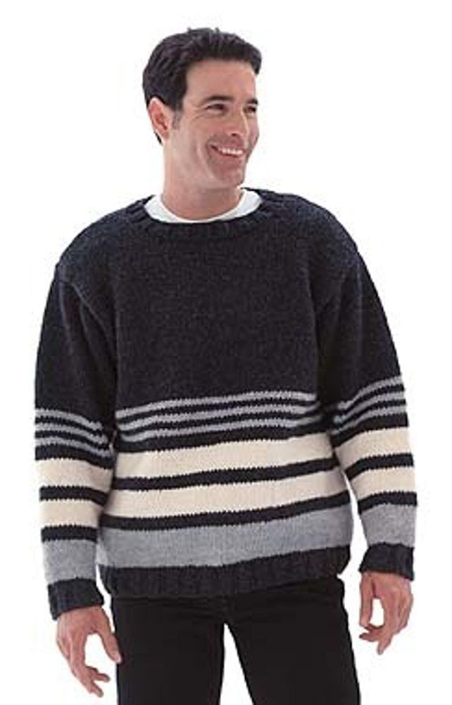 Striped Pullover Sweater In Lion Brand Wool Ease Chunky Discover
