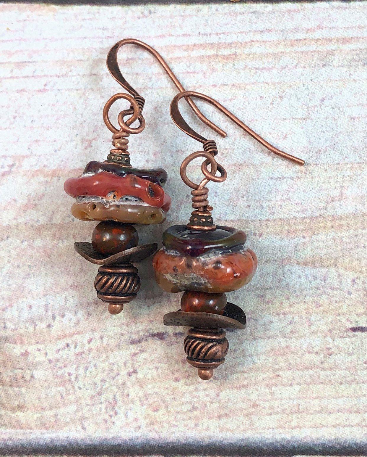 Caramel Cat S Eye Ring Diamontrigue Jewelry: Rust Lampwork Earrings, Brown Earrings, Boho Earrings