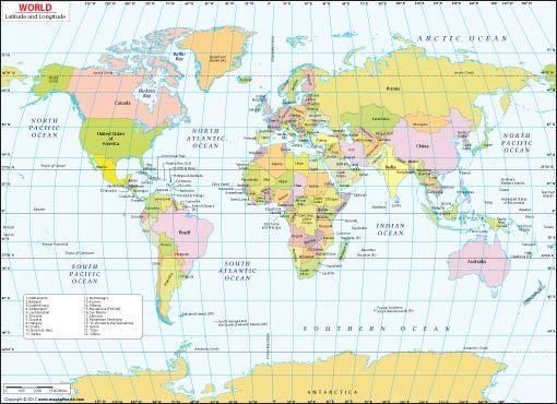 Longitude And Latitude Map Of The World Latitude and Longitude Map | france | World map picture, Map