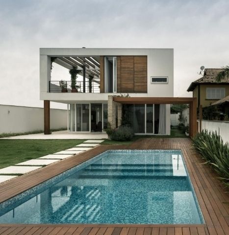Maison contemporaine bois béton et végétalisation du toit au Brésil ...
