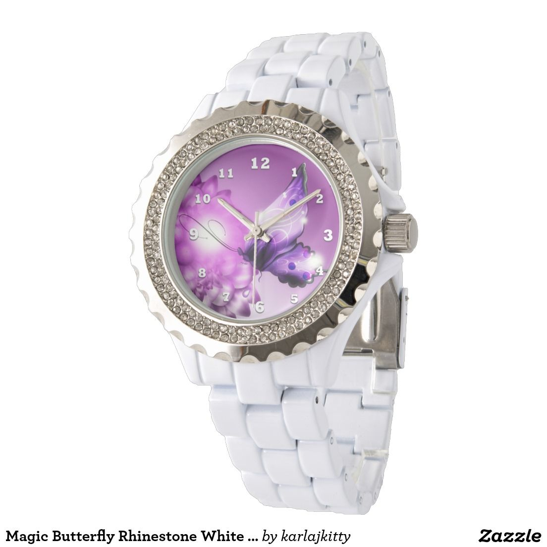 Magic Butterfly Rhinestone White Enamel Watch Gorgeous white enamel rhinestone watch - designed with a magical purple butterfly and lavender/pink flowers