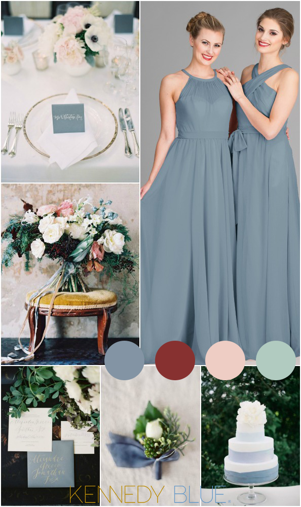 A Gorgeous Slate Blue Wedding Color Palette With Hints Of Deep Reds Pinks And Lots Greenery