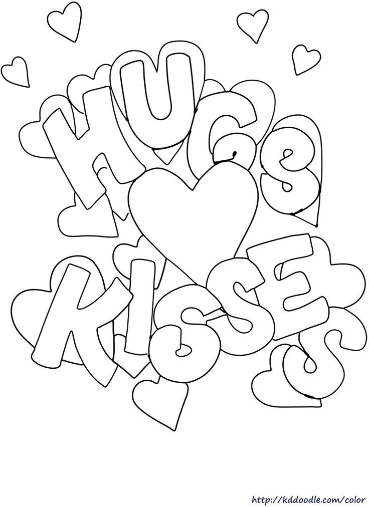 hugs and kisses coloring pages - photo#1