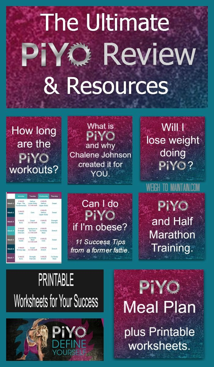 Your ultimate Review and Guide to PiYo, with links to articles about the PiYo Meal Plan, losing weight with PiYo, doing PiYo if overweight, and lots of free printable forms to get you fit and fabulous!