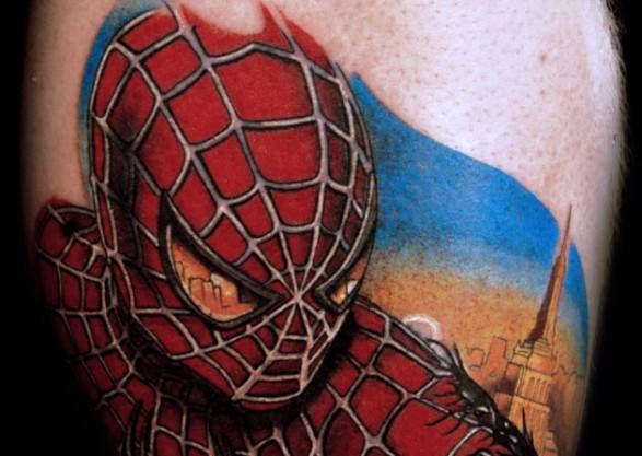 29b3415aff7b9 This Spider-Man tattoo shows the city he protects reflected in his eyes