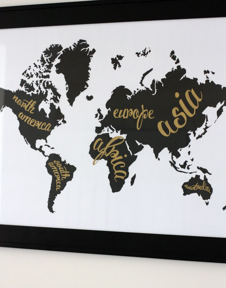 A Black And White World Map And An Office Tour Pinterest Spin - Black and gold world map
