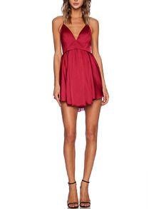 red spaghetti strap criss cross back pleated dress shein